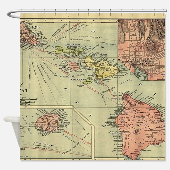 Vintage Map of Hawaii (1912) Shower Curtain
