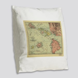 Vintage Map of Hawaii (1912) Burlap Throw Pillow