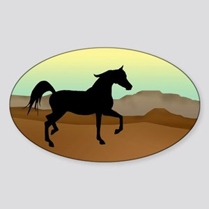 Desert Arabian Horse Oval Sticker