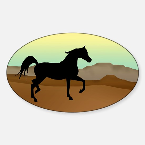 Desert Arabian Horse Oval Decal