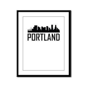 Skyline of Portland OR Framed Panel Print