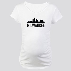 Skyline of Milwaukee WI Maternity T-Shirt