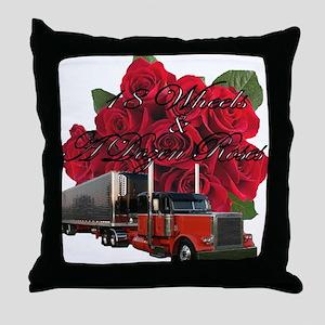 18 Wheels & A Dozen Roses Throw Pillow