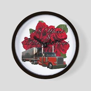 18 Wheels & A Dozen Roses Wall Clock