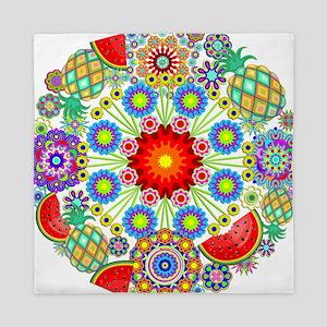 Mandalas and Exotic Fruits Pattern Queen Duvet