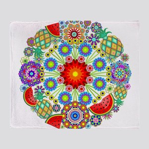 Mandalas and Exotic Fruits Pattern Throw Blanket