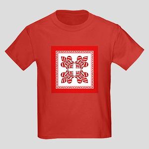 Candy Cane Fleur de lis (2) Kids Dark T-Shirt