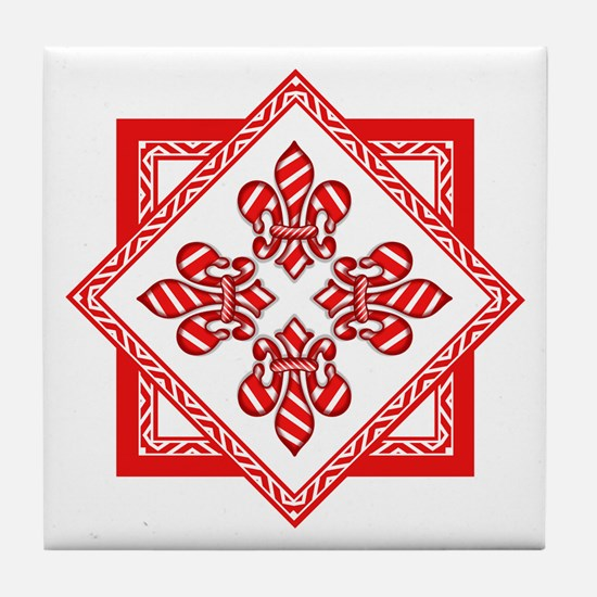 Candy Cane Fleur de lis (2) Tile Coaster