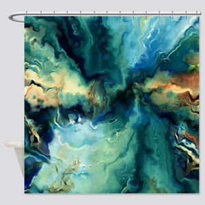 Abstract Blue Oil Painting Fractal Shower Curtain