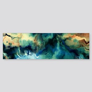 Abstract Blue Oil Painting Fractal Bumper Sticker