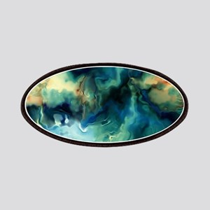 Abstract Blue Oil Painting Fractal Patch