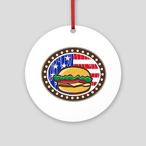American Cheeseburger USA Flag Oval Cartoon Round
