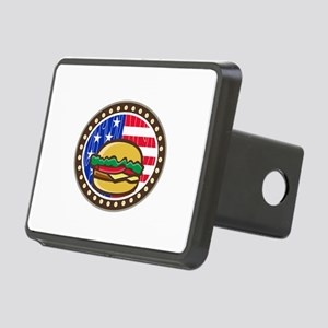 American Cheeseburger USA Flag Oval Cartoon Hitch