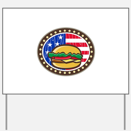 American Cheeseburger USA Flag Oval Cartoon Yard S