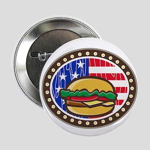 "American Cheeseburger USA Flag Oval Cartoon 2.25"""