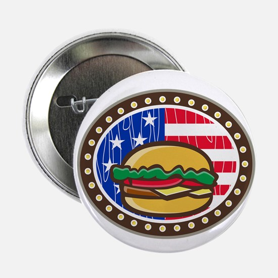 American Cheeseburger USA Flag Oval Cartoon 2.25""