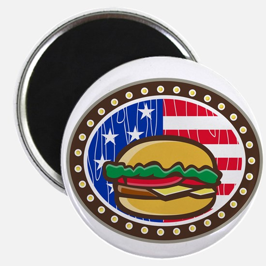 American Cheeseburger USA Flag Oval Cartoon Magnet