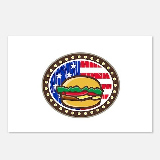 American Cheeseburger USA Flag Oval Cartoon Postca