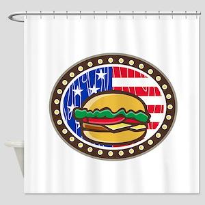 American Cheeseburger USA Flag Oval Cartoon Shower