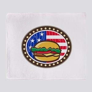 American Cheeseburger USA Flag Oval Cartoon Throw