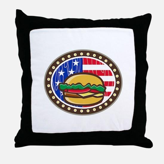 American Cheeseburger USA Flag Oval Cartoon Throw