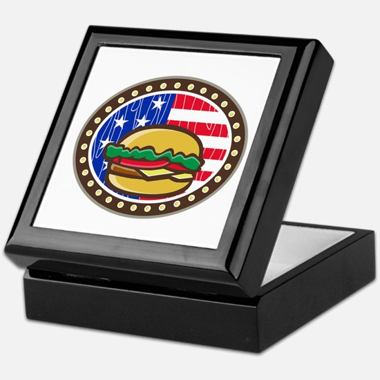 American Cheeseburger USA Flag Oval Cartoon Keepsa