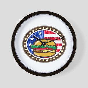 American Cheeseburger USA Flag Oval Cartoon Wall C