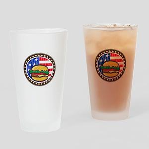American Cheeseburger USA Flag Oval Cartoon Drinki