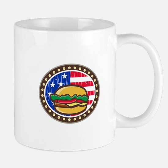 American Cheeseburger USA Flag Oval Cartoon Mugs