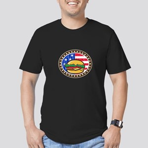 American Cheeseburger USA Flag Oval Cartoon T-Shir