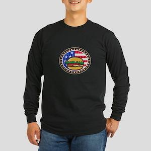 American Cheeseburger USA Flag Oval Cartoon Long S