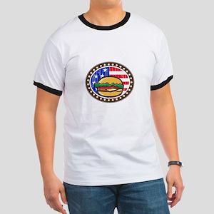 American Cheeseburger USA Flag Oval Cartoon T-Shir