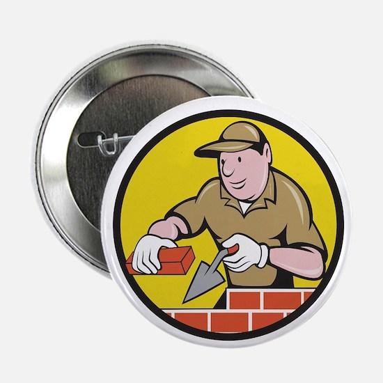 "Bricklayer Bricks Trowel Circle Cartoon 2.25"" Butt"