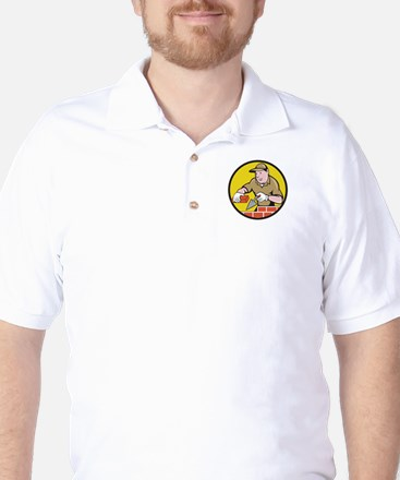 Bricklayer Bricks Trowel Circle Cartoon Golf Shirt