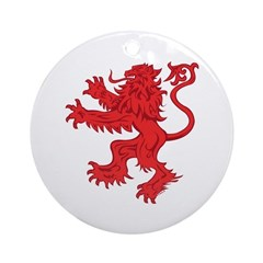 Lion Red Round Ornament