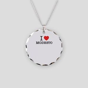 I Love MODESTO Necklace Circle Charm
