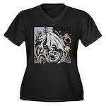 Fire Fly Women's Plus Size V-Neck Dark T-Shirt