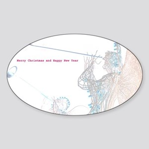 New York Christmas Oval Sticker. Angels