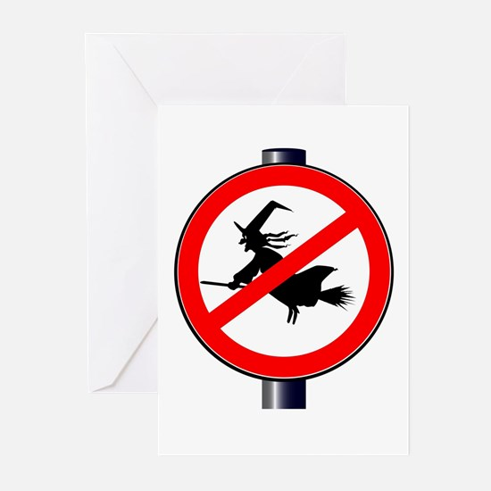 Witch Stop Traffic Signs Greeting Cards