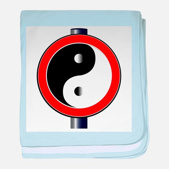 Yin Yang Traffic Sign baby blanket
