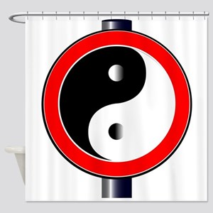 Yin Yang Traffic Sign Shower Curtain