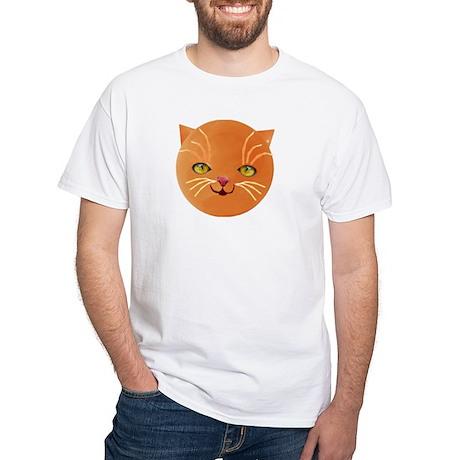 orange cat face White T-Shirt