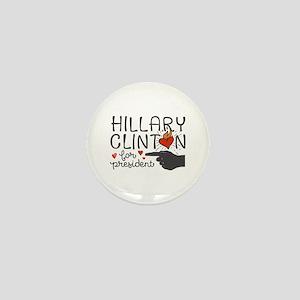 Burning Hearts Hillary Mini Button
