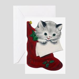 Vintage Style Kitten Christmas Greeting Card
