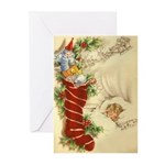 Vintage Style Christmas Greeting Cards. (Pk of 10)