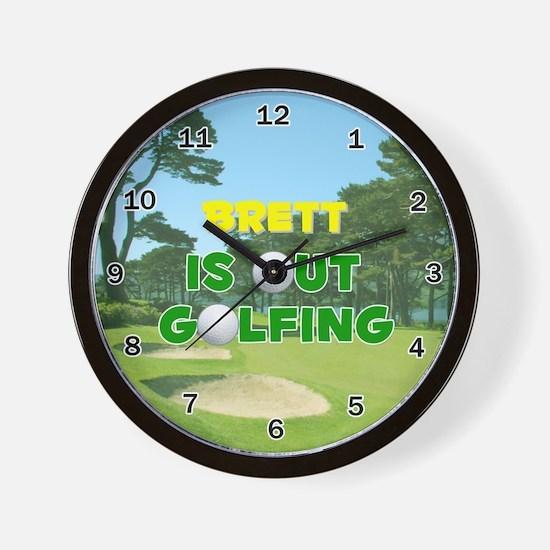 Brett is Out Golfing - Wall Clock
