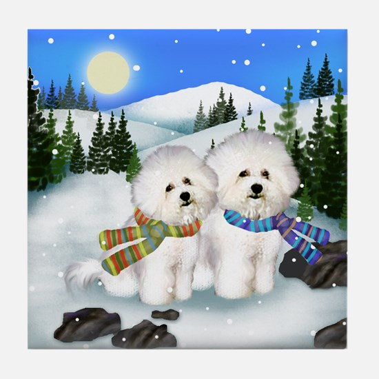 BICHON FRISE DOGS WINTER DAY Tile Coaster