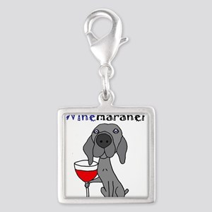 Weimaraner with Wine Charms