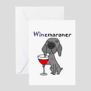 Weimaraner with Wine Greeting Cards