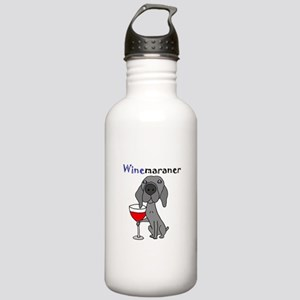 Weimaraner with Wine Stainless Water Bottle 1.0L
